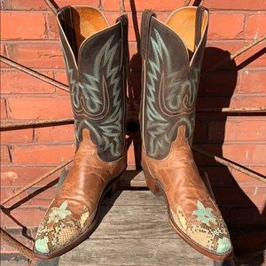 LUCCHESE Python Wingtip Goat Mad Dog Boots
